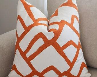 Schumacher Zimba Pillow Cover // Orange White Abstract Print Linen Pillow Cover 20x20, 22x22 18 20 24 26 Euro Lumbar x