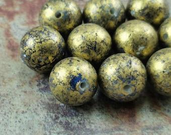 Blue on Golden Beads (10 pcs) , Round Verdigris Beads , Vintage German Beads , 14mm Lucite Beads