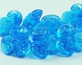 10 psc 21mm Blue Flower Ornamented Plastic Beads , Vintage German Beads , Findings , Lucite Beads - bk325