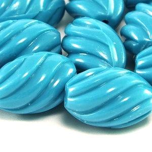 20 German 80s plastic egg beads white matte 24 x 18 mm