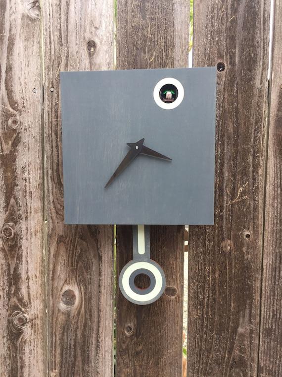 Coucou Horloge Mural Avec Coucou Gris Charbon De Bois Avec Etsy