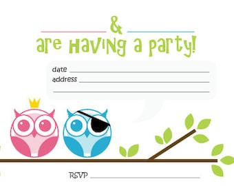 Princess and Pirate Owls - Printable Childrens Invites