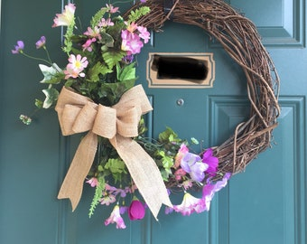 Spring/Summer Twig Wreath with Silk Flowers and Burlap Bow