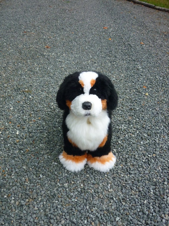 Bernese Mountain Dog Puppy Sheepskin And Wood Dog House Etsy