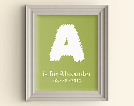 34b302ed8f4f Personalized Name art print Monster Initial Alphabet Letter