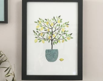 Lemon Tree .A delightfully simple A4 print ,showing a small lemon tree in a blue pot with little birds.Printed from collage original