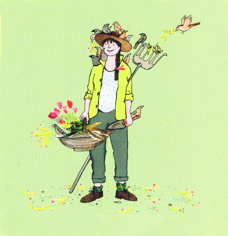 Green Fingers   a gardening lady with flowers and birds   Whimsical Printed  card from collage original