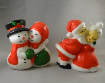 Santa and Mrs. Claus Retro Candles and Mr. & Mrs. Snowman Candles - Set of Two