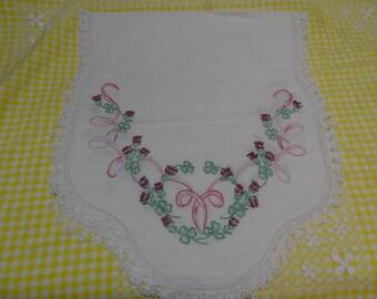 Vintage Hand Embroidered Dresser Scraf or Table Runner-SALE!