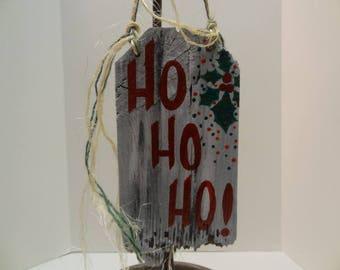 Hand Painted Ho Ho Ho Holiday Barnwood Sign