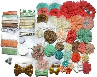 DIY Headband Kit, Baby Shower Station, Makes 20+ Headbands, Gold Coral & Aqua, Make Your Own Headbands, Baby Head Bands, Baby Shower Game