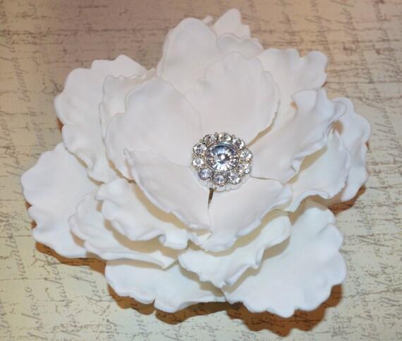 White Fondant Peony Flower Cake Topper Peony Wedding Cake Etsy