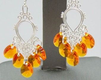 Tangerine Crystal Sterling Filigree Chandelier Earrings with Swarovski Ctrystals