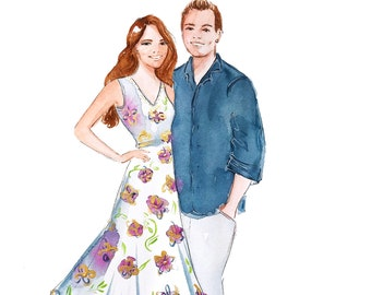 Couple Portrait/Custom Illustration/Family Portrait/ Personalized Artwork that can be turner into stationary
