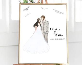 Custom Wedding Guest Book Alternative, Hand Painted Wedding Guestbook, Watercolor Guest Book, Wedding Decor, Unique Guestbook