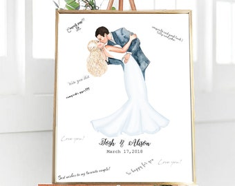 Customized Wedding Guestbook, Wedding Guest book Alternative, Couple Portrait Guestbook, Printable Wedding Centerpiece, Digital File Only