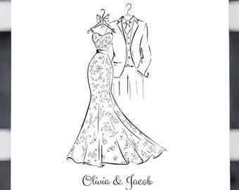 Wedding Dress Tuxedo Sketch, Wedding Guest Book Alternative, Printable Guestbook, Wedding Sign, Printable Wedding Guest Book