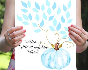 Baby Shower Guest Book Alternative - Blue and Gold Baby Shower Guest Book - Little Pumpkin Guestbook- Printable, Custom, Digital File