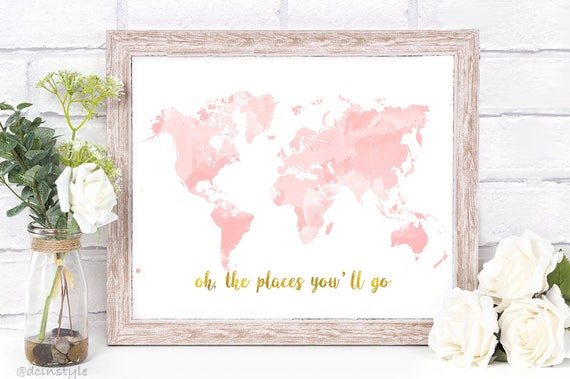 Nursery world map rose gold map nursery decor pink gold gumiabroncs Images