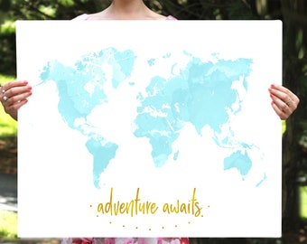 Adventure Awaits, World Map Print,  Motivational Print, Nursery Map, Nursery Decor, Instant Download, Printable Decor