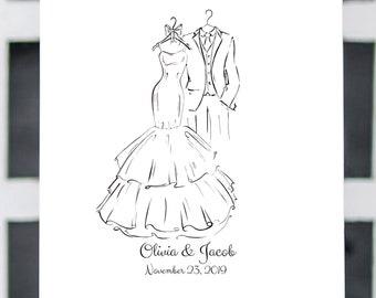 Wedding Dress and Tux Guestbook, Wedding Guest Book, Thumbprint Guestbook, Guestbook Alternative, Paper Anniversary, Wedding Sign