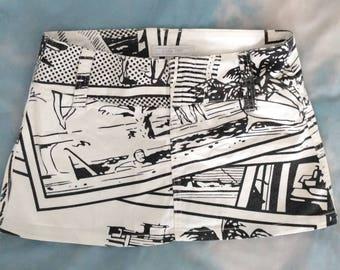 90s Pop Art Comic Halftone Beach Print Micro Mini Skirt