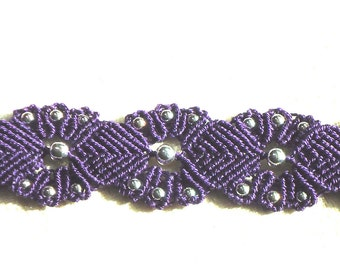 Gifts for her, Purple jewelry, macrame bracelet, knotted jewelry, free shipping, boho, hippie, chic