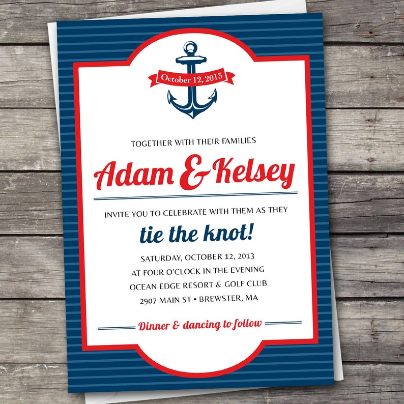 Wedding Invitation Set Digital Files Nautical Stripes