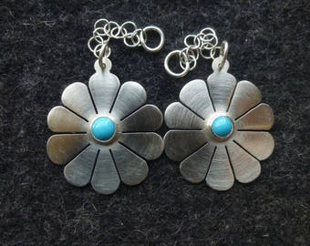 Sterling Silver and Sleeping Beauty Turquoise Flower Earrings