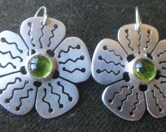 Thick Silver Flower Earrings with Vesuvianite and Hand-cut design
