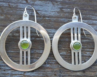 Gothic Sterling Silver Earrings with Vesuvianite