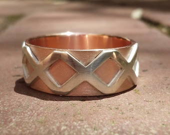 Heavy Copper and Sterling Silver Gothic Thumb Ring