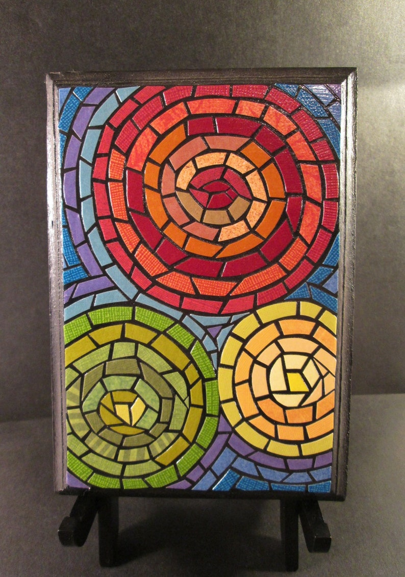 Original Paper Mosaic Colorful Abstract Art Hand Pieced Paper On Wood