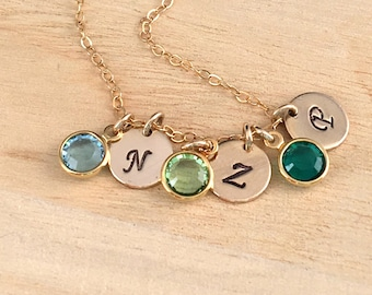 Birthstone Initial Necklace, Gold Filled Personalized Sterling Silver Necklace, Birthstone Crystal Necklace, Handstamped Disc Necklace,