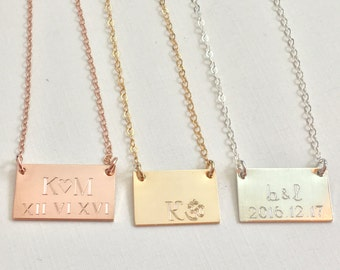 Gold Bar Necklace, Engraved Bar Necklace Wedding date necklace initial necklace Personalized Necklace engraved gold Necklace bridesmaid gift