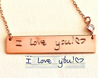 Handwriting Jewelry / Rose Gold Custom Handwriting necklace - Personalized Bar Signature Necklace - Reversible Actual handwriting  Necklace