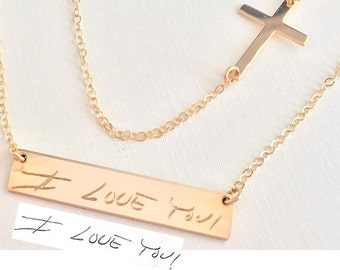 Handwriting necklace Memorial Necklace Layered Necklace cross actual Handwritten Necklace / drawing engraved Rose Gold Personalized engraved