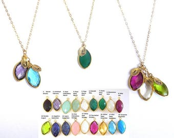 Mothers day Gift Mothers Necklace Initial Necklace Personalized Birthstone Gemstone Mom gift for her Grandma Necklace Family Tree Necklace