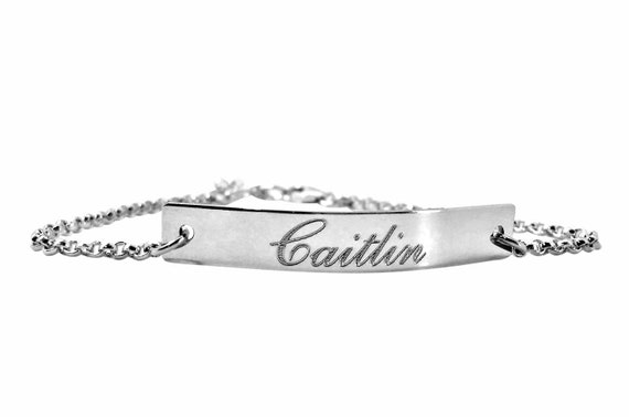 TOP QUALITY Personalised Sterling Silver Name Bracelet