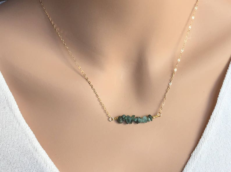 December Birthstone Necklace Raw Crystal Necklace Blue Apatite Natural Necklace Dainty Beaded Gemstone Bar Necklace 14 K gold fill Sterling