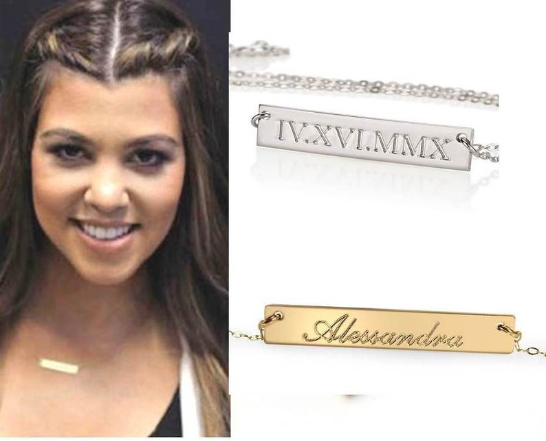 Personalized Gold Bar Necklace Mothers Children/'s Name Monogram Silver Celebrity Style Engraved Bar Necklace Nameplate Name Necklace