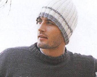 Handmade Knitted men's hat , choose your colors