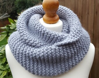 Chunky Wool Snood, double wrap neck warmer, knitted circle  infinity scarf grey blue, choose your colour
