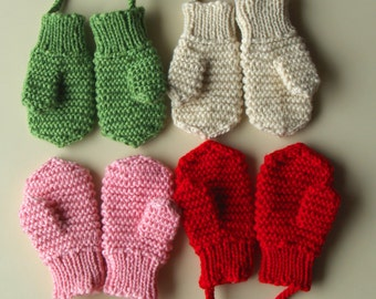 Merino Wool mittens for toddler/ children. Hand Knit Accessory for girls and boys. Red mittens. More colors. Size 6-12M,1-3-6-10Y