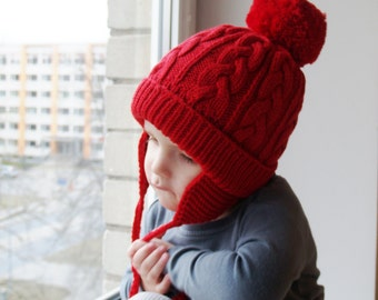 a34ee90e890 Hand Knit merino bobble hat for kids