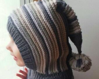 ff10836dcb61 Chapeau de lutin gris foncé, cagoule en tricot pour bébé, bambin, enfant,  chapeau avec Pom Pom queue, taille 6-12m, 1-3-6-10 ans