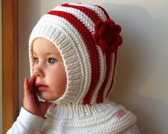 7b2788ce SALE size 3-6 years. White Merino Baby Girl Balaclava, Hand Knitted Hoodie  Hat with Flower, Waldrof Hat