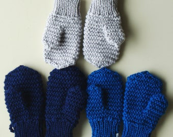 Merino Wool mittens for toddler/ children. Hand Knit Accessory for boys, Blue mittens with string. More colors. Size 6-12M,1-3-6-10 years