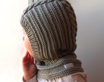Merino wool Balaclava, Baby/ Toddler/ Children hat. Olive Grey, Hat with Neckwarmer.