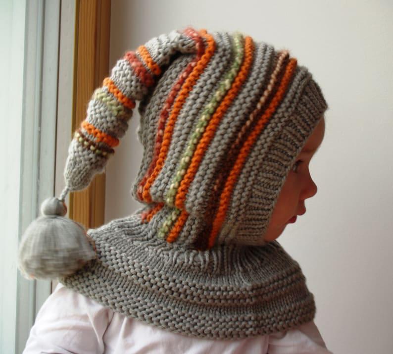 Cappello elfo grigio a mano a maglia Balaclava per bambino  536aae1079eb